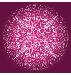 Ornamental round lace freehand vector image