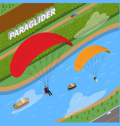 Paraglider isometric vector