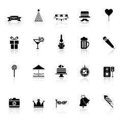 Party time icons with reflect on white background vector image vector image