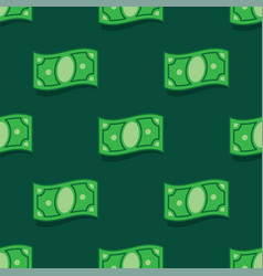 Pattern money bank notes on green background vector