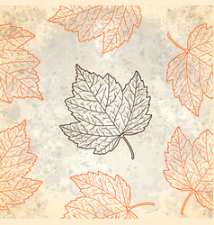 Pattern with autumn leaves in beige vector