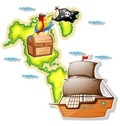 Pirate ship and treasure chest on map vector