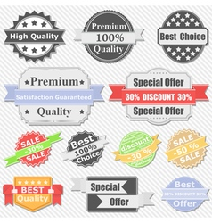 premium quality and sale labels vector image