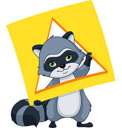 Raccoon with a card of geometric shape triangle vector