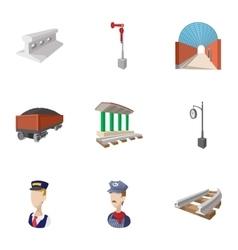 Railway transport icons set cartoon style vector image