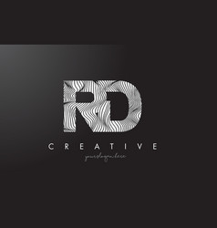 Rd r d letter logo with zebra lines texture vector