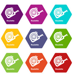 roulette icons set 9 vector image