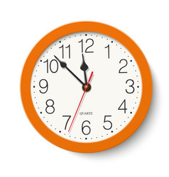 Round wall clock in orange color body isolated vector