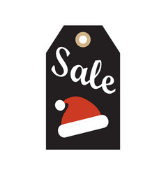 Sale hanging badge with red santa claus hat advert vector