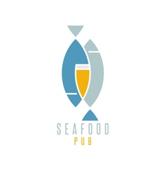 seafood pub with beer and fish vector image