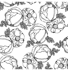 Seamless monochrome pattern of cabbages vector image