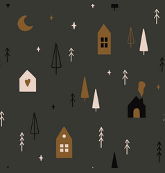 seamless pattern with christmas trees moon stars vector image
