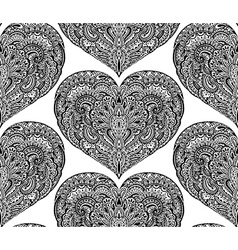 seamless pattern with hand drawn ornate hearts vector image