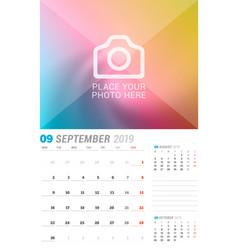 september 2019 wall calendar planner template vector image