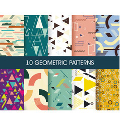 set 10 perfect patterns hipster stile vector image