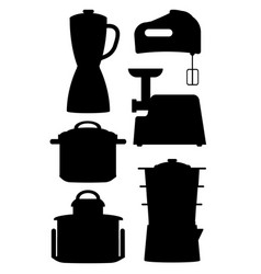 set black silhouettes kitchen instruments vector image
