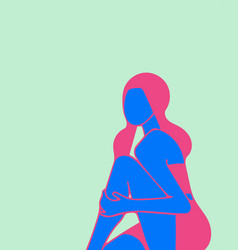 Sitting girl holding on to the knee minimalism vector