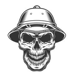 skull in safari hat vector image