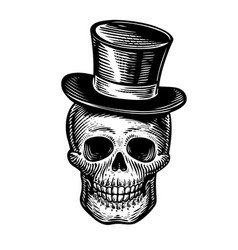 Skull or jolly roger in hat-cylinder joker sketch vector