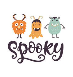 spooky halloween poster with cute monsters vector image