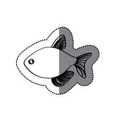 Sticker monochrome line contour with fish vector