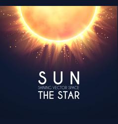Sun in universe shining star cosmos design vector
