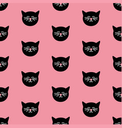Tile pattern with black cats on pink background vector