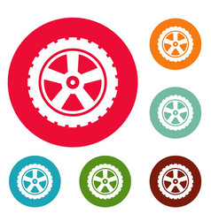 transport tire icons circle set vector image