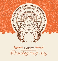 Turkey bird for Thanksgiving day card vector image