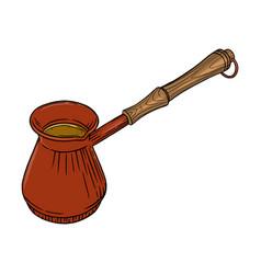 Turkish coffee pot sketch side view cezve pot vector