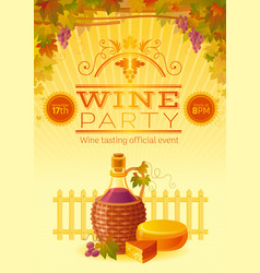 Wine festival poster for wine party invitation vector