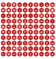 100 business career icons hexagon red vector image vector image