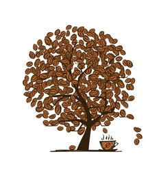 Coffee time Art tree for your design vector image