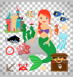 cute mermaid with marine life vector image vector image