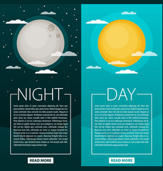 Day and night or banners sun and moon vector