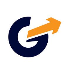 g letter arrow logo vector image vector image