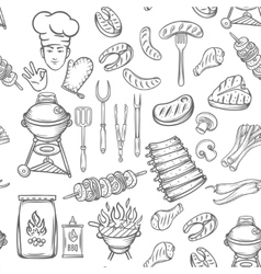 Hand drawn seamless pattern barbecue vector image
