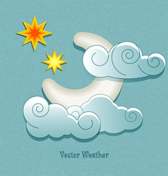 weather icons in retro style Moon behind the cloud vector image