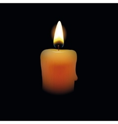 Candle on black background vector image vector image