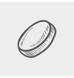 Hockey puck sketch icon vector