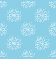 light blue seamless background with white flowers vector image vector image