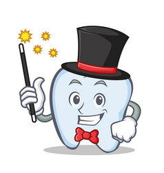 Magician tooth character cartoon style vector