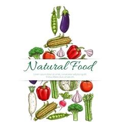 Natural vegetarian food symbol of vegetables icons vector