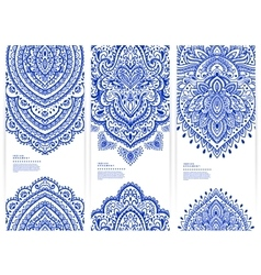 Set of banners with floral Indian ornaments can be vector image vector image