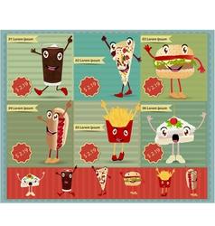 Set of Retro fast food menu funny cartoon vector image vector image