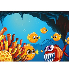 A group of puffer fishes and a scary piranha vector image vector image