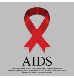 Red ribbon mourning sign for world AIDS day on 1 vector image
