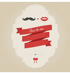 Vintage wedding invitation with lips and moustache vector image