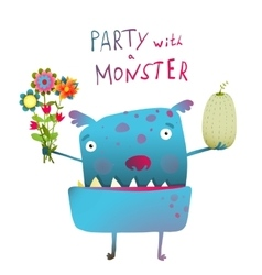 Cute and Funny Monster with Bunch of Flowers Fruit vector image vector image