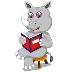 funny rhino cartoon sitting with reading book vector image